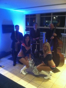 Performing at a reception for Tom Brady in Gillette Stadium. Photo w/ Jeff Harrington-sax, George Farrell-Drums and New England Patriot's Cheerleaders.